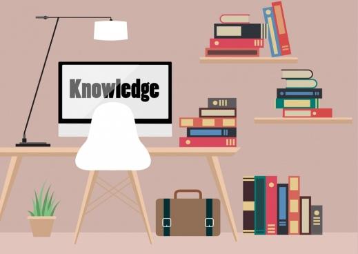knowledge concept background bookshelf computer icons