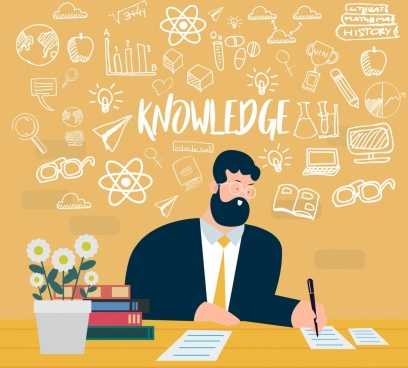 knowledge concept background working man handdrawn design elements