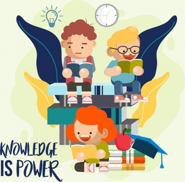 knowledge concept banner children books stack icons