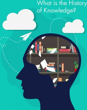 knowledge concept banner head silhouette brain bookshelf icons
