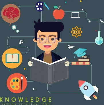 knowledge concept banner learning boy education symbols decor