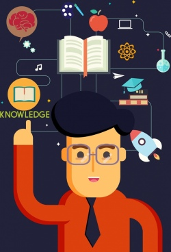 knowledge concept banner man learning tool icons