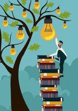 knowledge conceptual drawing man books stack lightbulbs icons