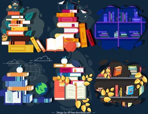 knowledge design elements books icons dark colored sketch