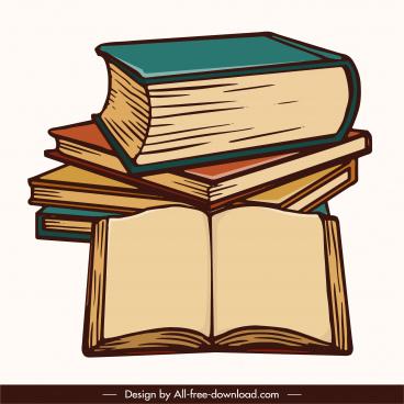 knowledge elements 3d books stack retro design
