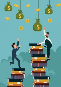 knowledge value background men book stack money icons