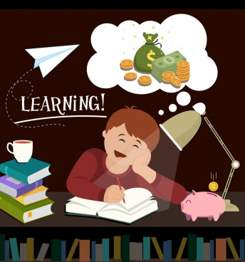 knowledge value banner learning boy money dream icons