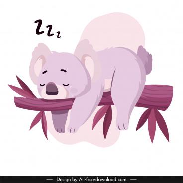 koala animal icon sleeping sketch cute cartoon character