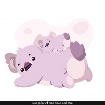koala family icon funny design cartoon characters sketch