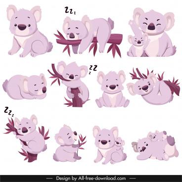 koala species icons cute gestures sketch cartoon characters
