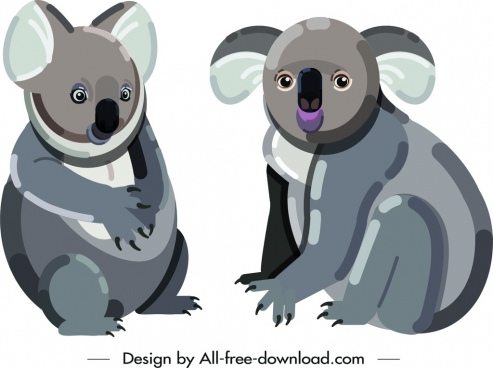 koala wild animal icons cute cartoon sketch