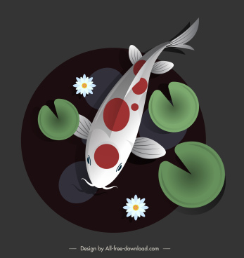 koi fish painting colored circle isolation retro decor