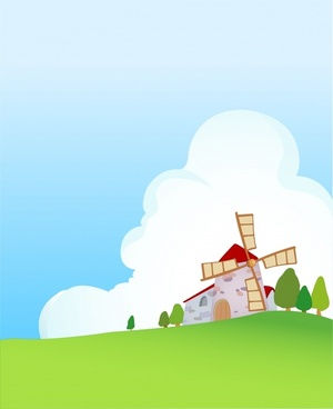countryside painting windmill hill icons colorful design
