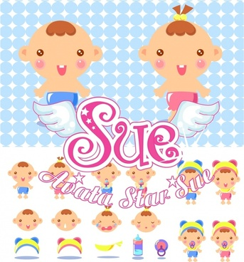 baby store advertisement cute cartoon icons