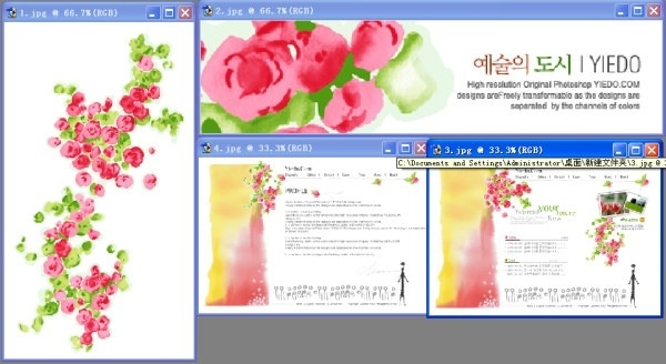 korea flowers psd layered