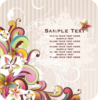 decorative background flowers icons classical colorful curves decor