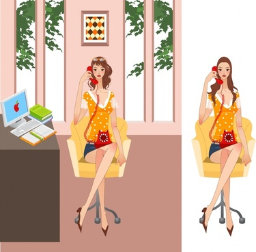 office lady icon cartoon character