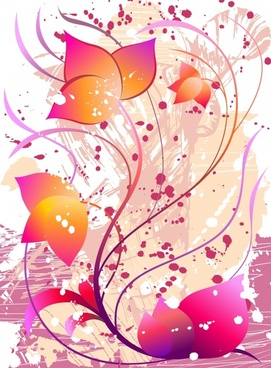 flowers background multicolored messy grunge ornament