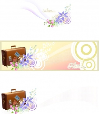 decorative background template flowers suitcase icons colorful decor