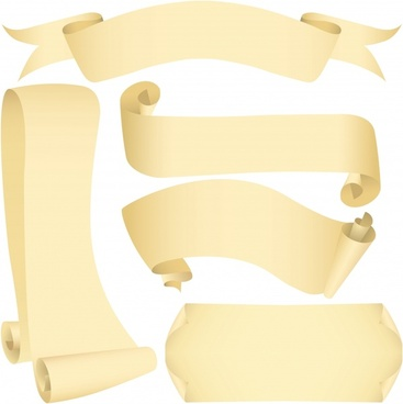 paper ribbon icons 3d yelllow sketch