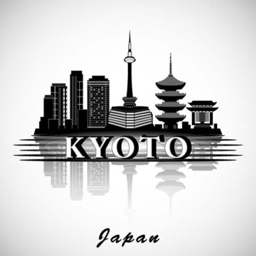 kyoto city background vector