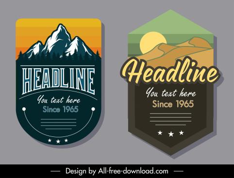 label templates natural scene sketch retro design
