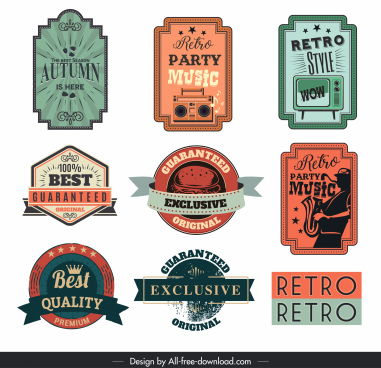 label templates retro colored design various shapes