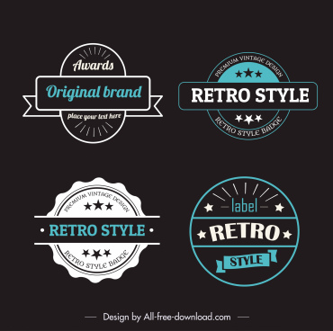label templates retro design flat shapes