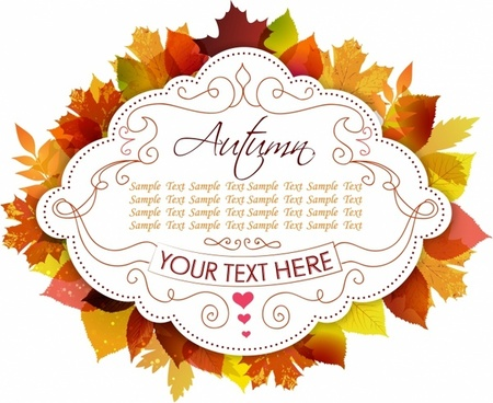 Label With Autumn Leaves