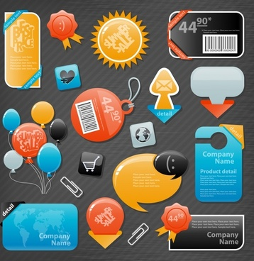 sale tags templates modern colorful flat shapes design