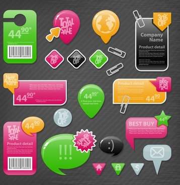 labeling dialog arrow stickers vector