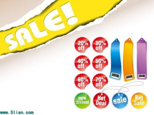 sales design elements colored labels tags templates