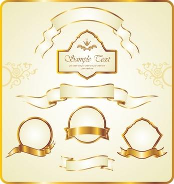 label design elements golden ribbon luxury elegant design