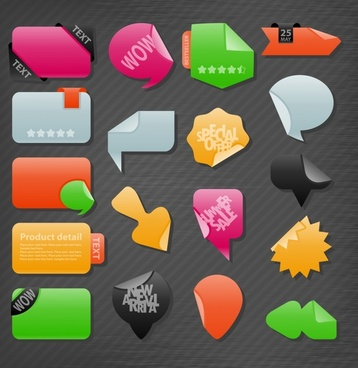 decorative stickers templates modern colorful shapes sketch