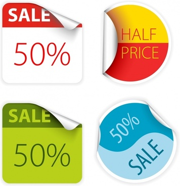 sale label templates square round shapes curl decor
