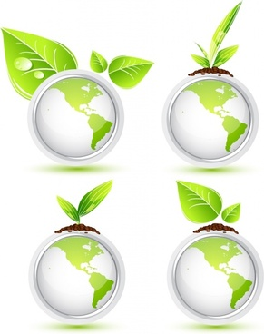 ecology icon sets green globe leaf seed decor