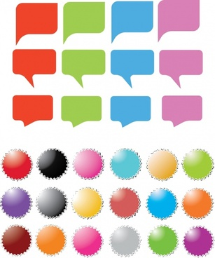 labels templates colorful speech bubbles serrated circle design