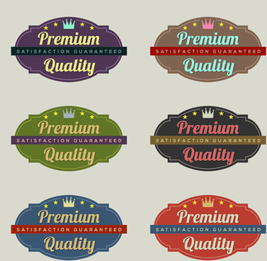 labels premium quality retro style vector