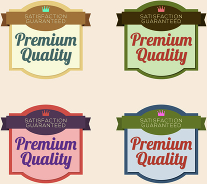 labels premium quality retro style vector