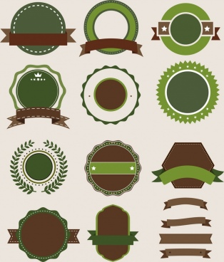 labels template collection circle ribbon polygon decor