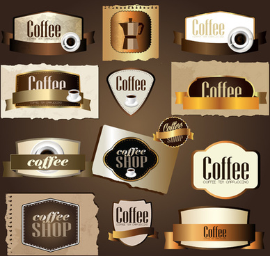 labels with cards for coffee vector