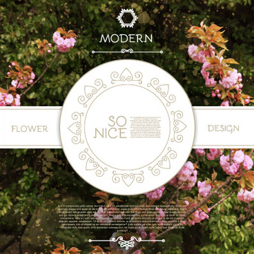 labels with flower blurs background vector