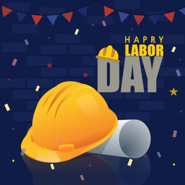 labor day banner helmet icon 3d shiny decor