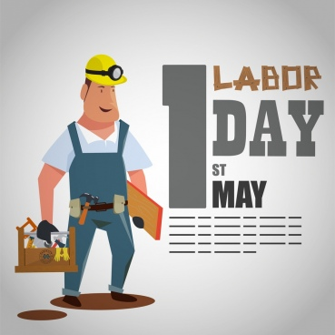 labor day banner male worker icon cartoon design