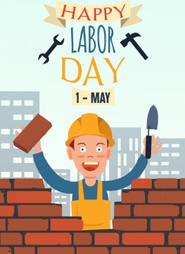 labor day banner worker brick wall colored cartoon