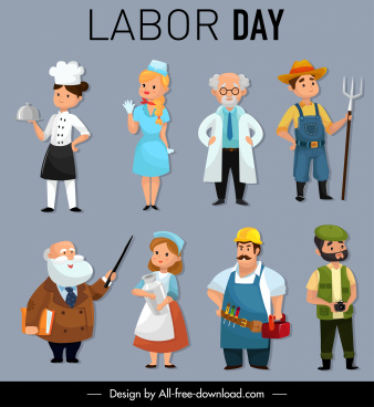 labor day design elements occupation icons cartoon characters