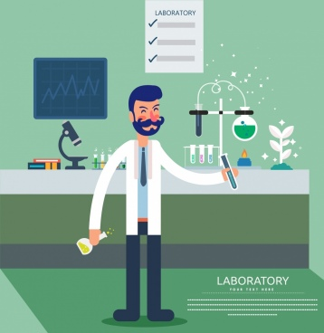 laboratory advertising male scientist tools icons cartoon design