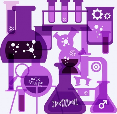 laboratory background glass tubes icons violet flat design
