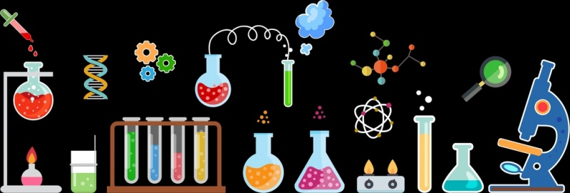 laboratory background glassware tools icons multicolored flat design