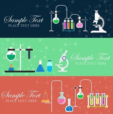 laboratory background sets tools icons horizontal flat design